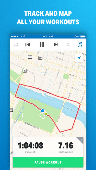 Map My Run - Captura de pantalla en un iPhone