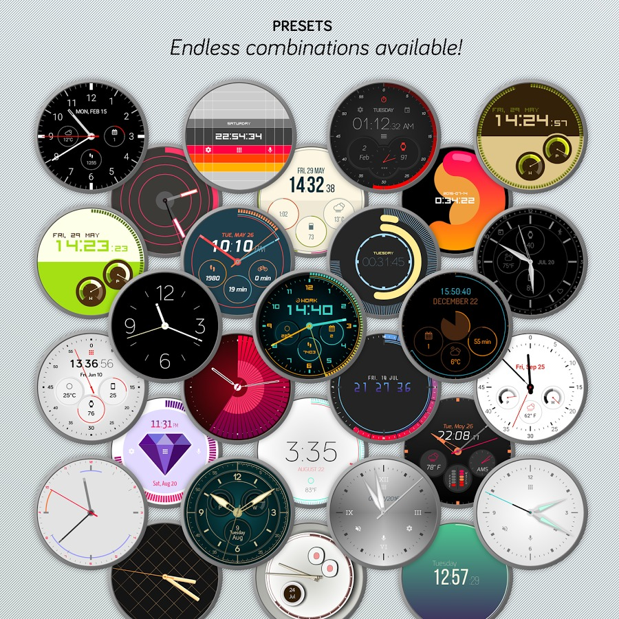 Colección de watch faces Pujie Black para Wear 2.0
