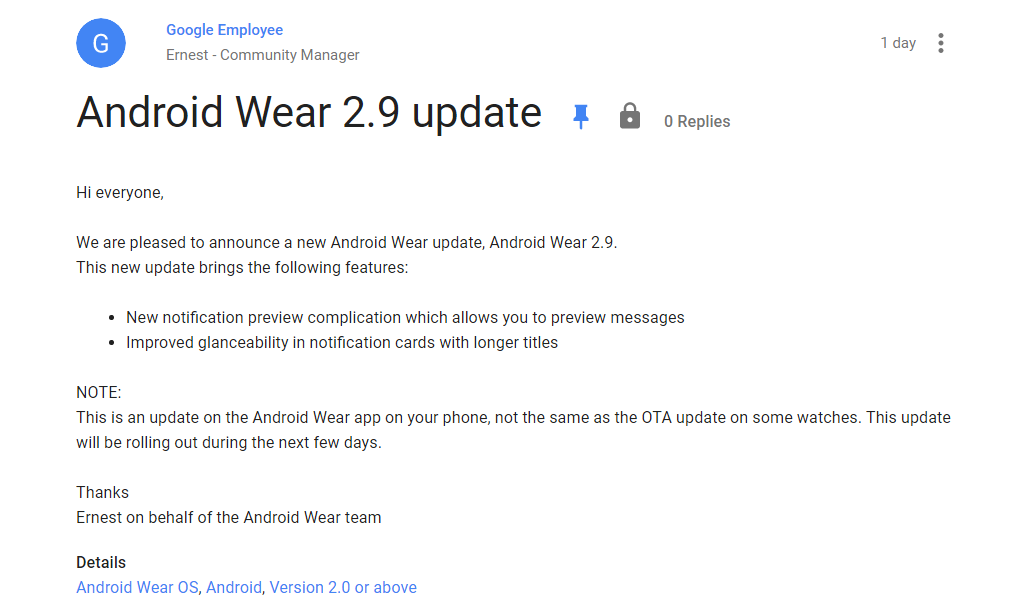 Actualización Android Wear 2.9