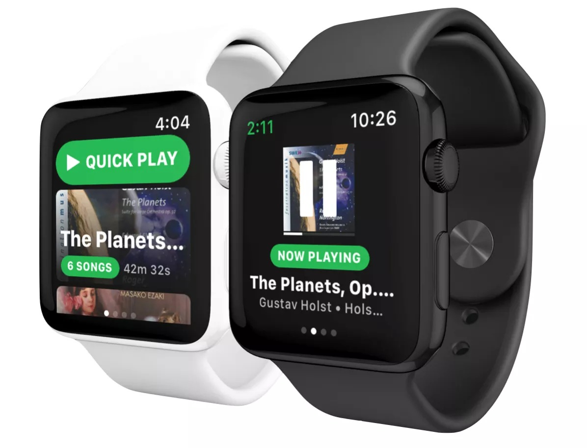 App Snowy Spotify para el Apple Watch