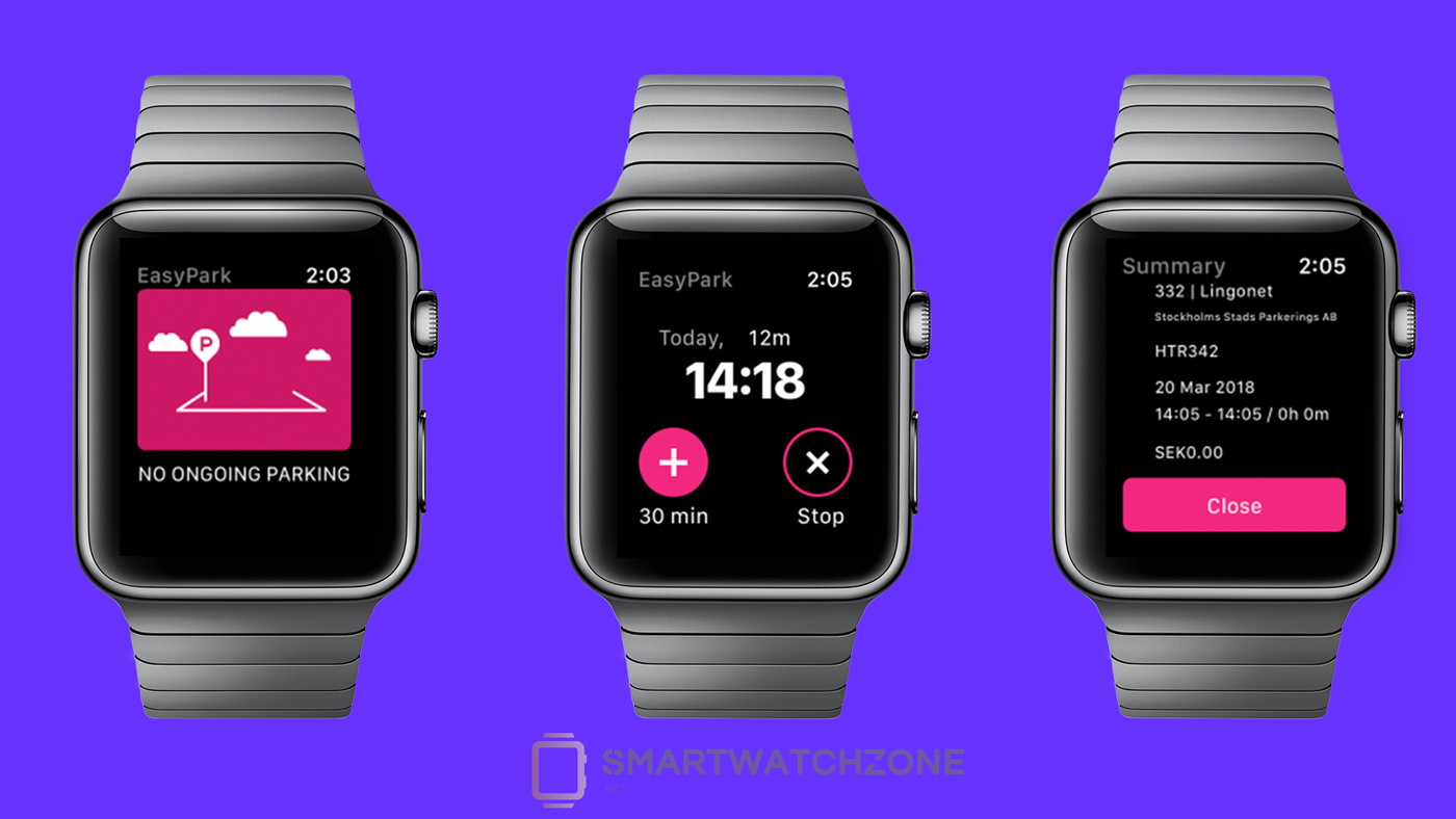 Capturas de pantalla de EasyPark para el Apple Watch