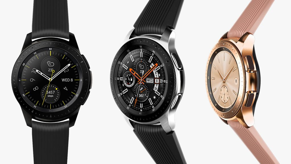 Modelos del Samsung Galaxy Watch en color negro, plata y oro rosa
