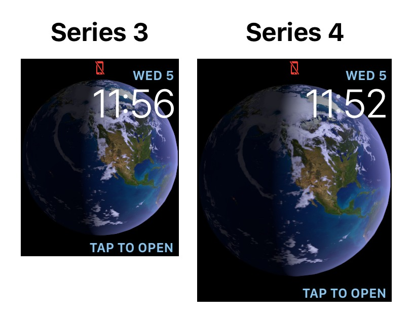 Resolución de la pantalla del Apple Watch Series 3 en comparación con la nueva pantalla del Apple Watch Series 4 | Imagen: 9to5mac