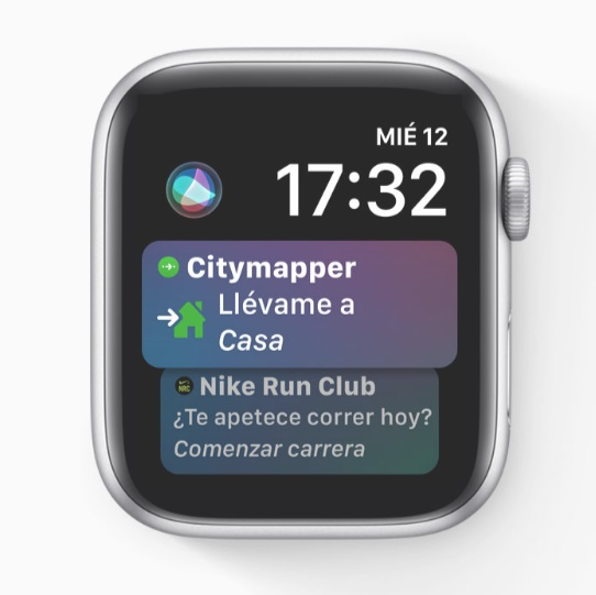 Watch face Siri en watchOS 5 | Imagen: Apple