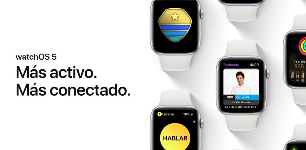 WatchOS 5 ya está disponible para el Apple Watch Series 1, Series 2, Series 3 y Series 4