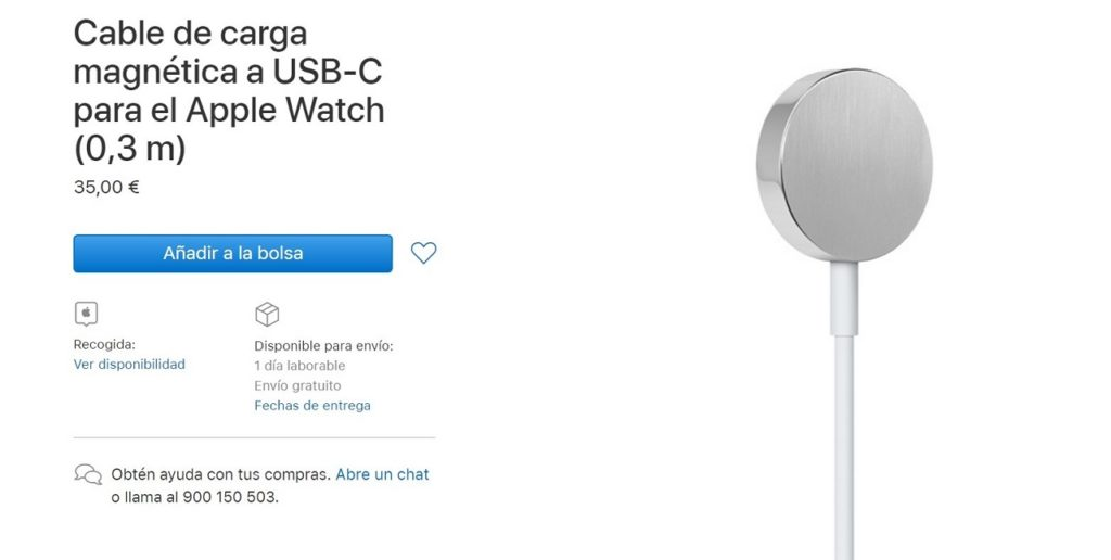 Cable de carga magnética a USB-C para el Apple Watch