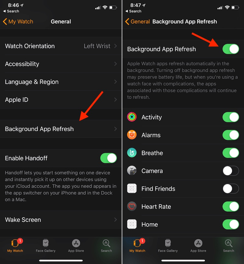 Configurar actualizaciones de fondo en el Apple Watch