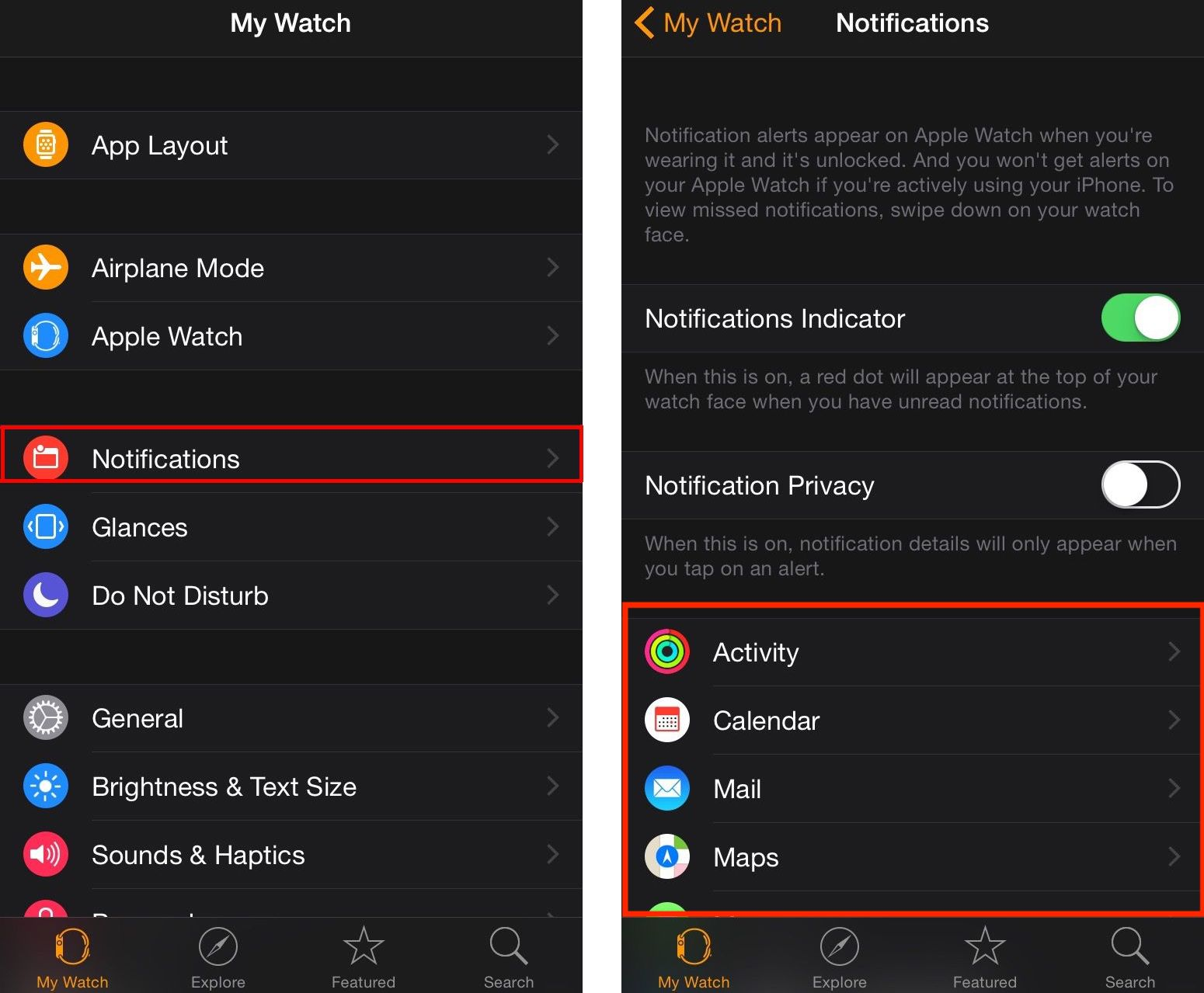 Ajuste de notificaciones en Apple Watch