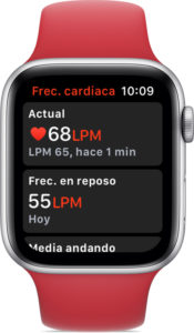 Frecuencia cardíaca en el Apple Watch Series 4