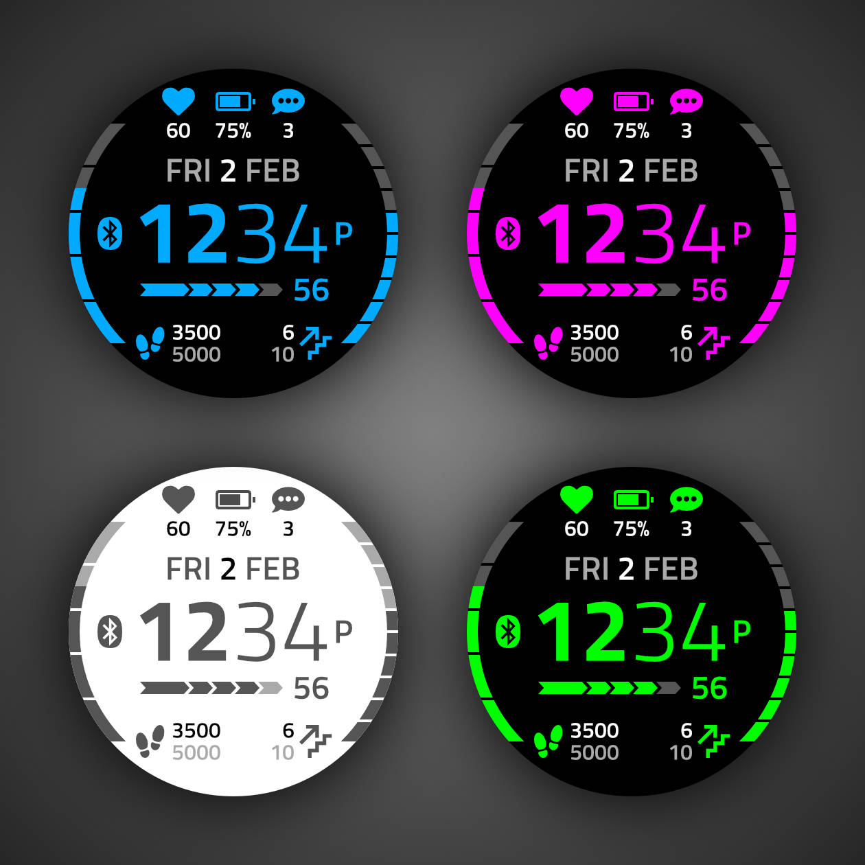 Esfera de reloj o watch face Crystal para relojes Garmin, disponible en la plataforma Connect IQ