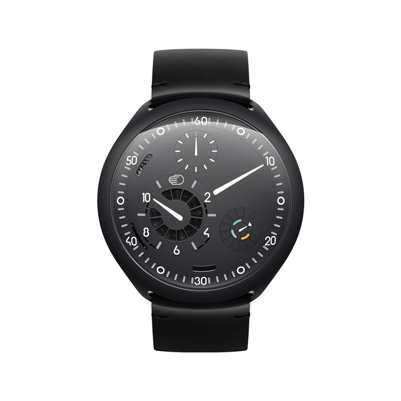 Parte frontal del smartwatch mecánico Ressence Type 2