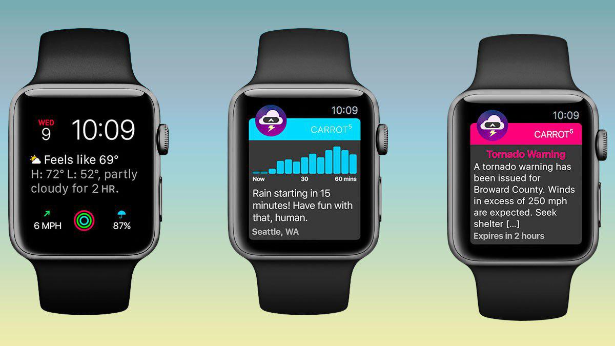 Carrot Weather se actualiza para el Apple Watch