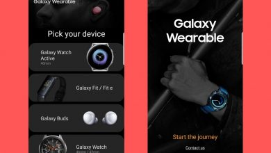 Captura de pantalla de la app Samsung Galaxy Wearable donde se pueden ver los nuevos Galaxy Watch Active y Galaxy Fit / Fit E