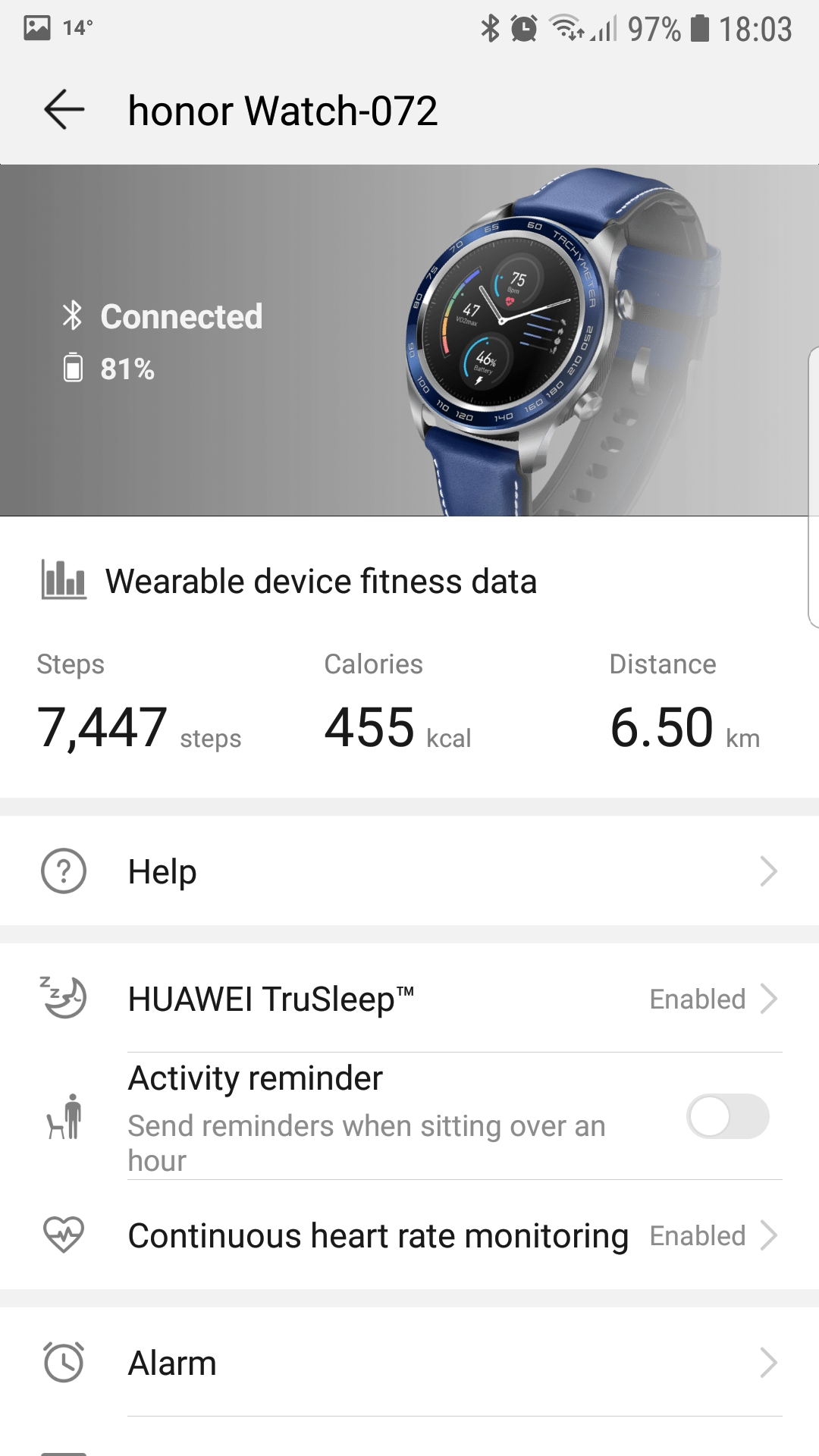 Honor Watch Magic en la app Huawei Health