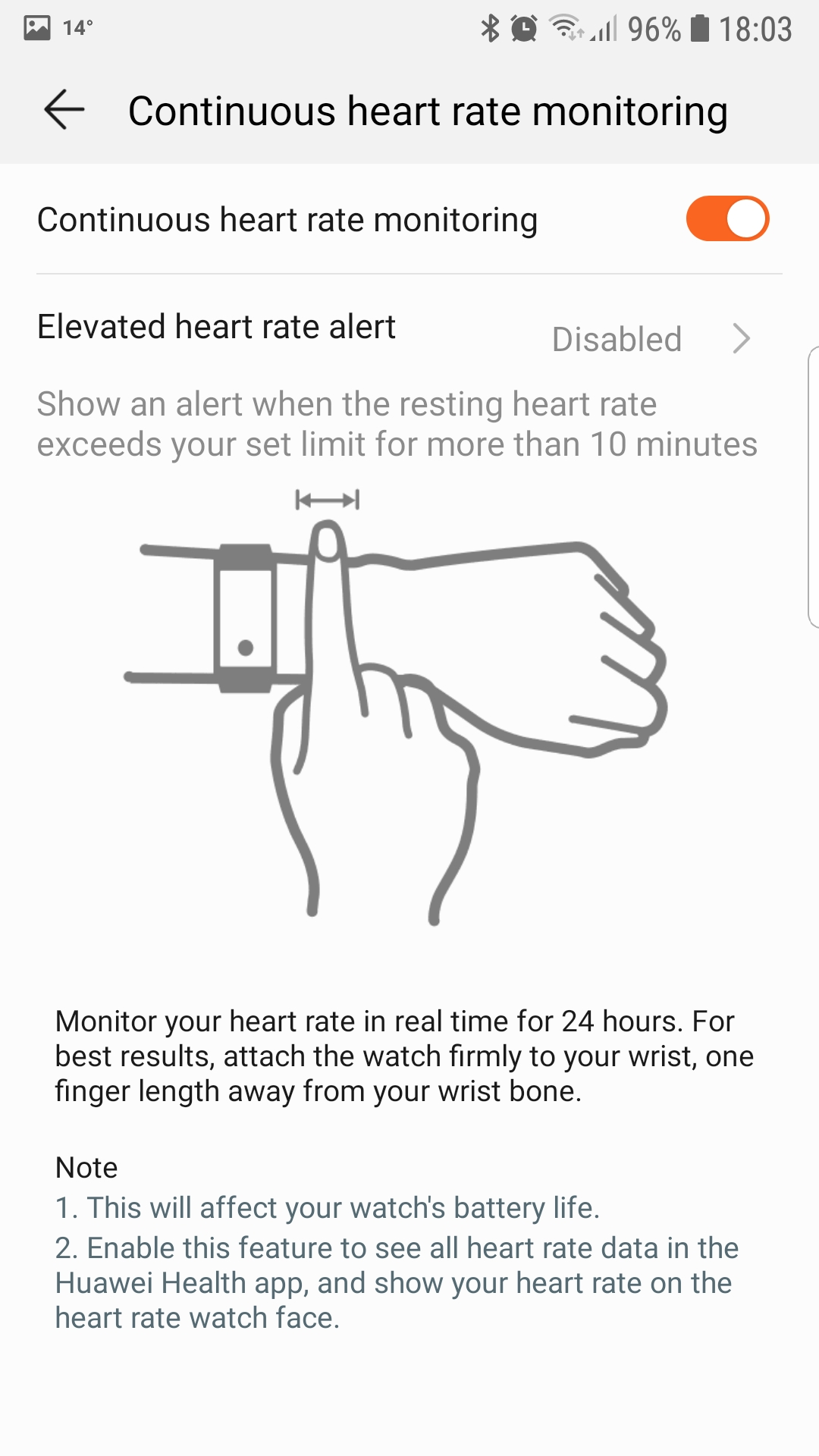 Configurando las alertas por frecuencia cardíaca elevada en el Honor Watch Magic