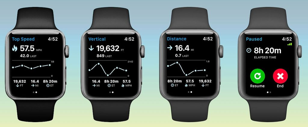 Aplicación Slopes para esquí y snowboard en el Apple Watch Series 3
