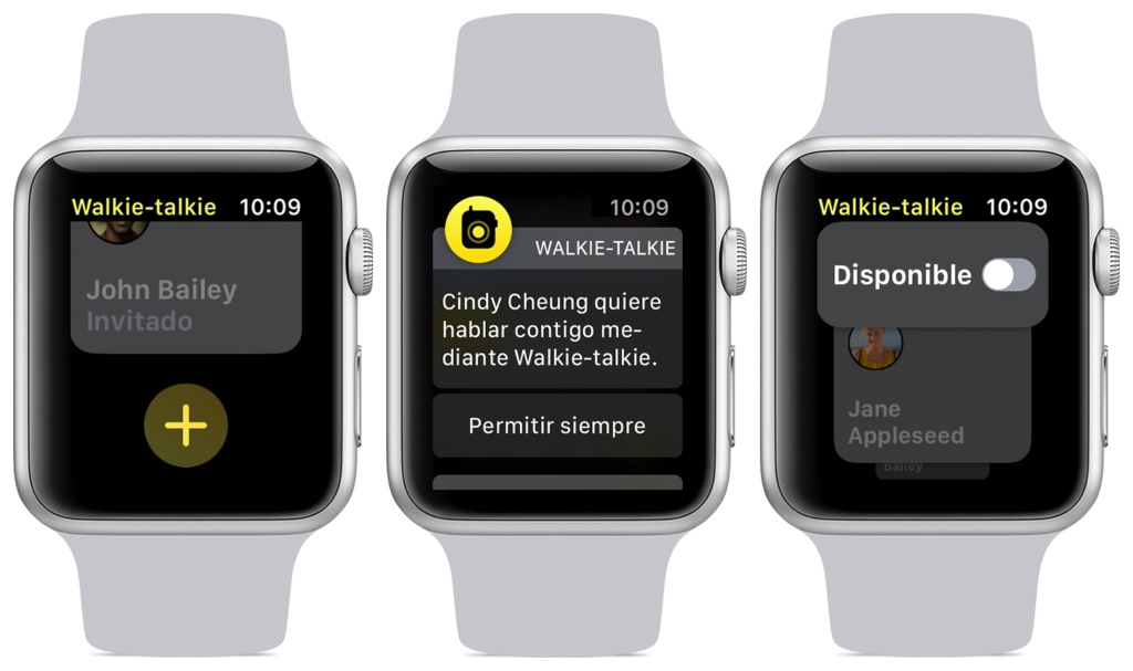 Aplicación Walkie Talkie en el Apple Watch